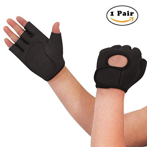 Nlife Power-Grip Half-Finger SPORTS HANDSCHUHE, EXERCISE GLOVES Ideal zum Radfahren, Rudern, Gewichtheben und Cross Fit Training (Black, M)
