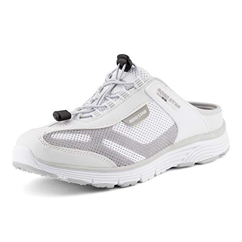 Fusskleidung Damen Herren Sabot Sneaker Sportschuhe Slip-On Clogs Pantoletten Freizeit Sandalen Weiß Grau EU 44
