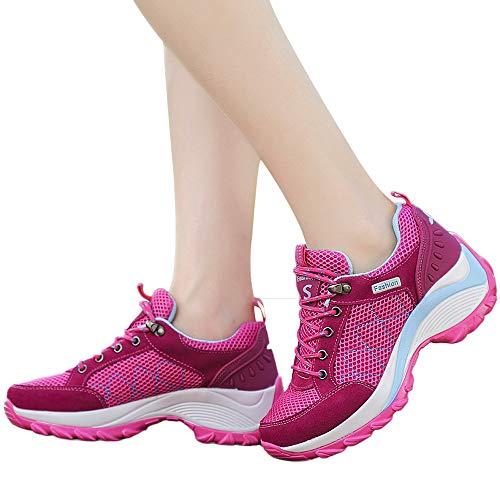 MYMYG Frauen Turnschuhe Outdoor Mesh Schuhe Casual Lace-Up Bequeme Laufschuhe Bergsteigen Sneaker Sportschuhe Leicht Laufschuhe Atmungsaktiv Fitnessschuhe