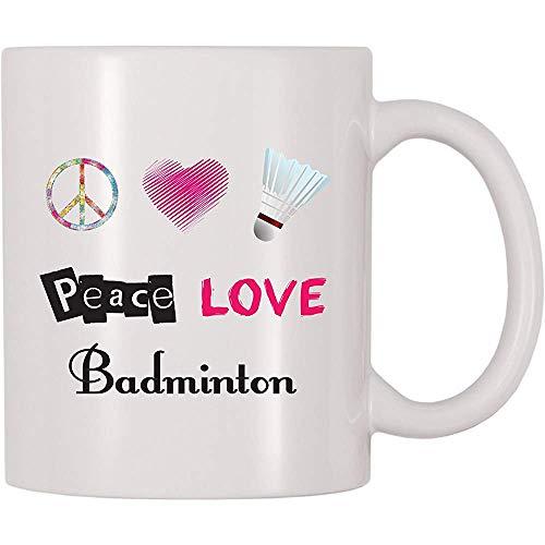 Friedensliebes-Badminton-Kaffeetasse-Tee-Schale lustige Becher