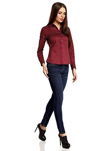 oodji Collection Damen Taillierte Druckbluse Rot (4912D)