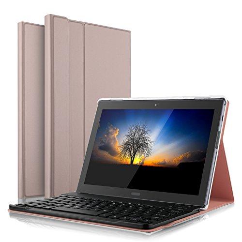 IVSO Lenovo Tab4 10 Plus QWERTZ Tastatur, Abnehmbare Wireless Bluetooth Tastatur Schutzhülle mit Standfunction für Lenovo Tab4 10 Plus/Lenovo Tab 4 10 Plus Tablet, Rosegold
