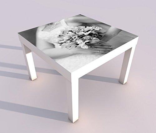 Design - Tisch mit UV Druck 55x55cm schwarz weiß Braut Brautkleid Blumen Freesie rosa Blume Spieltisch Lack Tische Bild Bilder Kinderzimmer Möbel 18A955, Tisch 1:55x55cm (Design Brautkleider)