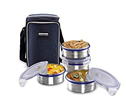 Smart lock Classic Steel Airtight Tiffin pack with insulated Bag, 400 ml, Silver, Set of 4