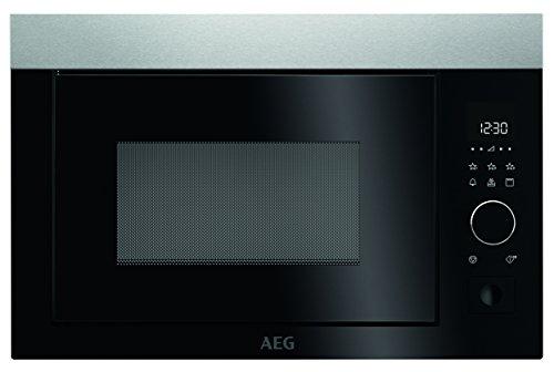 AEG MBE2657D-M Mikrowelle / Einbau Mikrowelle mit Grill / 26 l Backraum / max. 900 Watt / Mikrowellengerät mit Automatikprogrammen & Kindersicherung / Edelstahl + Anti-Fingerprint / silber & schwarz