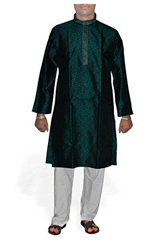 DakshCraft Dartmouth grün Jacquard Männer Kurta Pyjama groß Größe