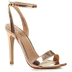 Sandalias para Mujer con Tobillo de Plataforma de tacón Alto para Mujer, Color Dorado, Talla 39