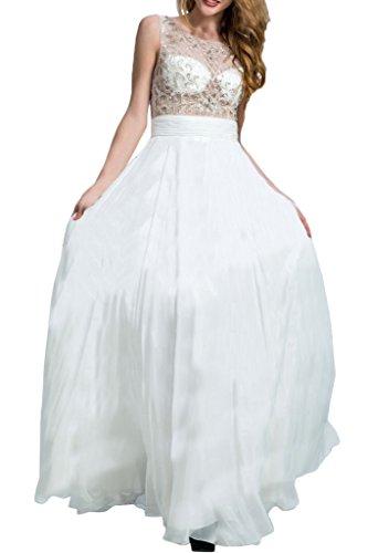 Promgirl House Damen Hochwertig Steine Chiffon A-Linie Ballkleider Cocktail Festkleider Abendkleider Lang Weiß