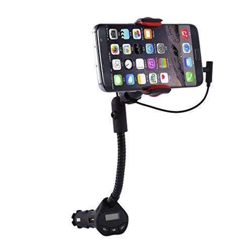 ICOCO Universal Auto KFZ Handyhalterung Wiege mit FM Transmitter und USB Anschlüsse 3.1A Ladegerät 360° Rotation für iPhones, Samsung-Galaxie u. Andere Smartphones Universal Fm-transmitter