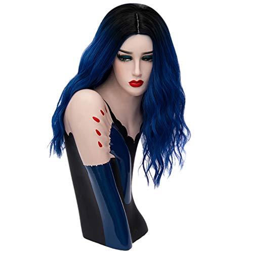 Baisheng Frauen Trendy lange lockige Bob Perücke Damen Kostüm Cosplay Perücken Pop Party Kostüm (45cm-Royal Blue) Royal Blue Pop