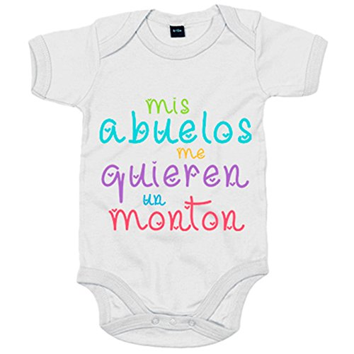Body bebé Mis abuelos me quieren un montón - Blanco, 12-18 meses