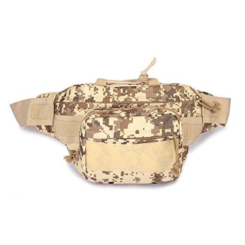 Military MOLLE Fanny Tactical Bum Tasche Cross Body EDC Utility Gürtel Tasche woodland camo Hip-Pack Taille Tasche wasserdicht Nylon Werkzeug Tasche für Outdoor Wandern Klettern Laufen Reise, Desert Digital Camouflage (Designer-gürtel-taschen)