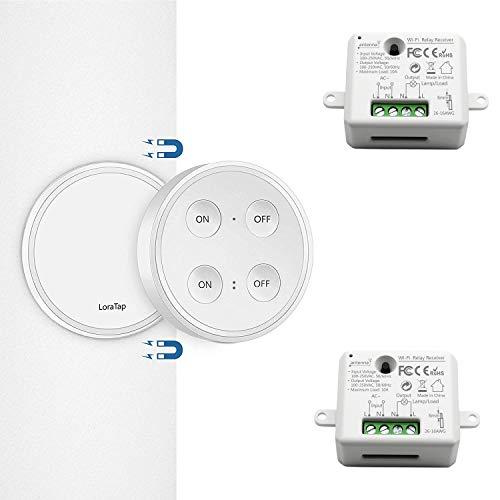 Kit de Interruptor de Luces Inalámbricas, LoraTap Interruptor Inalámbrico + 2 Piezas...
