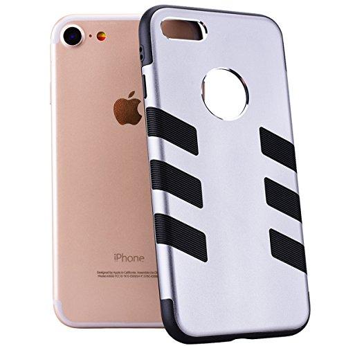 GrandEver iPhone 7 Weiche Silikon Hülle Bumper Metall Rückschale Backcover TPU Schutzhülle Schale Handytasche Anti-Kratzer Stoßdämpfung Ultra Slim Silicon Soft Case Ultradünnen Premium Handyhülle - Ro Grau