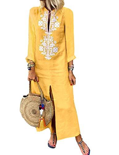 HAHAEMMA Damen Kleider Maxikleid Lose Kleid Langarm Retro Leinen Baumwolle Lange Kleider Elegante Bluse Breite LBiläufige Sommerkleider Damen Plus Größe(YE2,L)