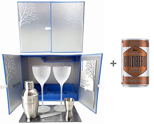 Belvedere Vodka Martini Cocktail Geschenkset Box Set - 2X Belvedere Martini Gläser + Shaker + Jigger + 2X Oliven Coktailspieß + Edelstahl Unterlage + Goldberg Intense Ginger 0,15l EINWEG Glas Jigger
