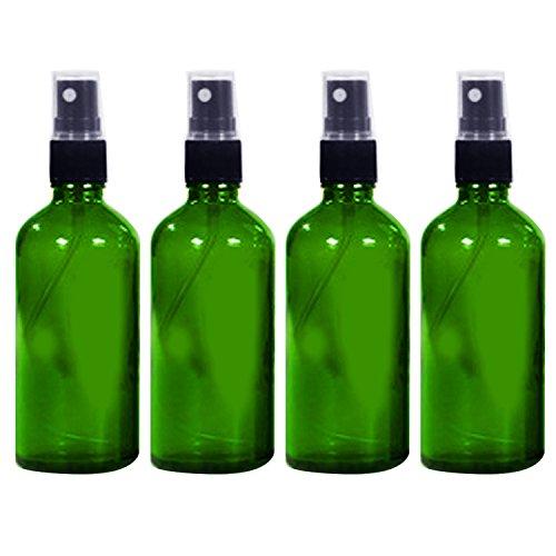 4 PCS 3.3oz/100ml Voyage portable verre bouteille vide réutilisable Fine brume Spray bouteille récipient voyage parfum huiles essentielles contenants pulvérisateur Vert