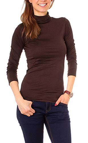 Easy Young Fashion Basic Damen Rollkragen Jersey Shirt Unterzieher Longsleeve Enganliegend Langarm Einfarbig One Size Dunkelbraun