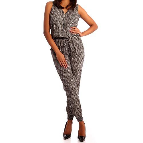 Damen Zipper Overall Jumpsuit Pump Mehrfarbig/Model12