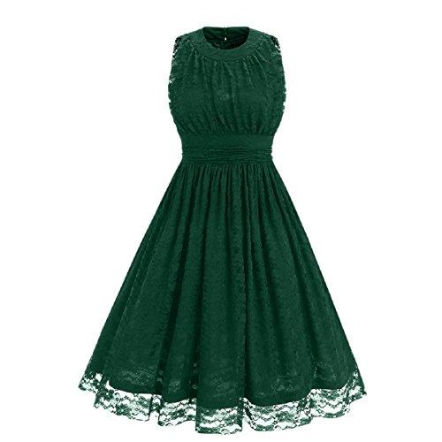 iShine® 50s Retro Vintage Rockabilly Spitze Ärmellos kleid Abendkleid Partykleider Cocktailkleider