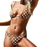 QingJiu Frauen Sexy Mode Welle Punkt Push-Up Gepolsterter BH Strand Bikini Set Badeanzug(Braun,Large)