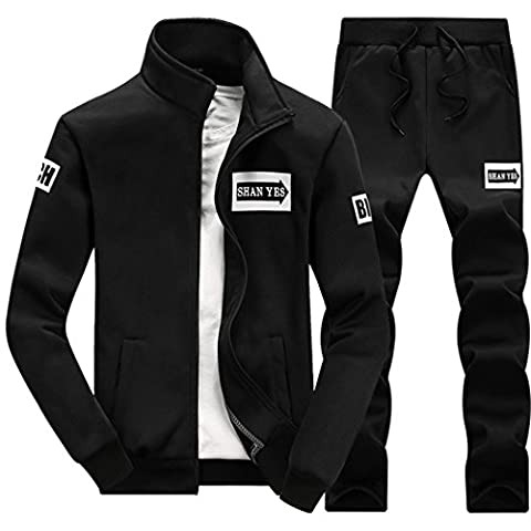 WALK-LEADER Men's Casual Printed Zip Up Two-piece Tracksuit Black
