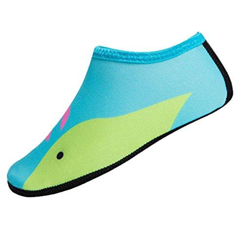 URSING Kinder Schwimmen Tauchsocken Draussen Wasser Zerkratzt Rutschfeste Strand Schuhe Aquaschuhe Barfuß Schuhe Badeschuhe Wasserschuhe Surfschuhe Sportschuhe für Jungen und Mädchen (XS, Grün)