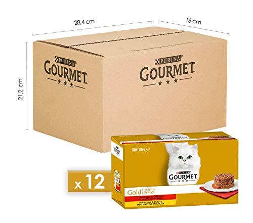 Gourmet Gold Purina Umido Gatto Tortini con Pollo e Carote, con Manzo e Pomodori, 48 Lattine da 85 g Ciascuna, 12 Confezioni da 4 x 85 g