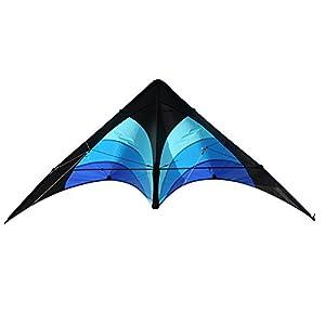 Elliot Delta Stunt - Cometa de Dos Cuerdas para Principiantes, 130 x 65 cm, Lista para Volar, Color Negro y Azul