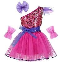 iiniim Vestido Lentejuelas Princesa Flores para Niña Chica Traje de Baile Jazz Patinaje Artistico Falda Tutú de Danza Ballet Conjunto Brillante con Muñequeras Disfraz Navidad Fiesta