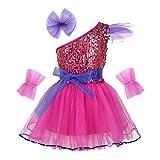 YiZYiF Vestido Danza Ballet Niña Disfraz de Bailarina de Ballet Latín Jazz Vestido Princesa con Lentejuelas Dancewear Infantil 3-14 Años Rose Red 8-10 Años