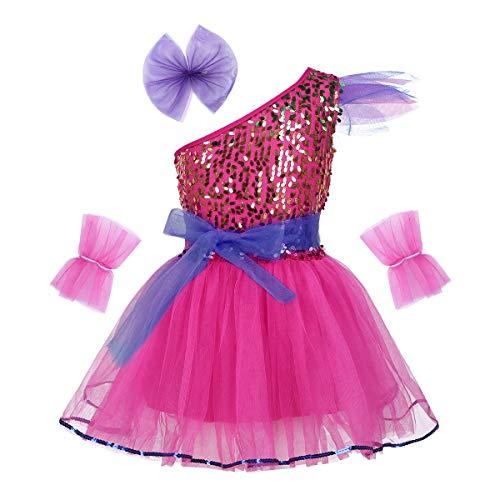 Kostüm Kinder Tanz Weihnachts - iEFiEL Mädchen Kleid Ballettkleid Pailletten Kleid Tütü Ballett Trikot Kinder Tanz Kostüm Prinzessin Kleid Weihnachten Verkleidung Karneval Party Fest EIN-Schulter (Rose Rot) 140-152