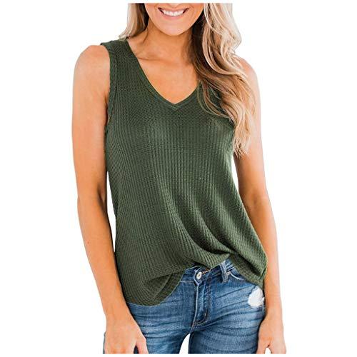 Electri Damen Tank-Top, rückenfrei, Weste, einfarbig, Bluse ohne Ärmel, für Sport, Freizeit, Strand XL Armee grün