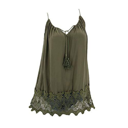 elucon, Sommer Tank Top Casual Kurz Oberteil Elegant ärmelloses T-Shirt Basic Bluse Blusentop Tanktop Große Größen ()