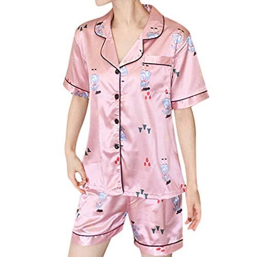 e Damen Frauen 2 Stücke Sommer Pyjamas Kurzarm Shorts Pyjamas Lose Nachtwäsche Homewear Damen Hauspyjama Zweiteilig Y-2 (Rosa,XL) ()