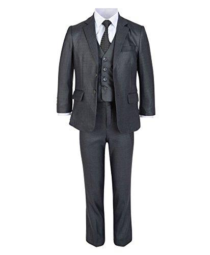 LotMart Jungen 5 Stück Formeller Anzug Jacke Weste Krawatte Shirt Hosen Hochzeit Party und gratis Geschenk Promotion Stift mit jeder Päckchen - Dunkelgrau, 128 (Mit Hemd Krawatte Jungen)