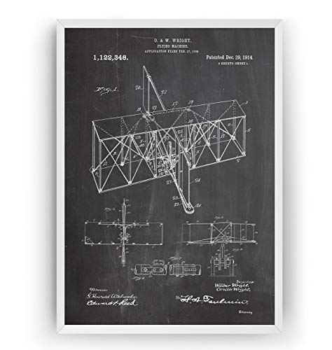 Wright Brothers Patent Poster - Flying Machine 1914 - Vintage Art Print Pilot Gifts For Men Women Aviation Blueprint - Frame Not Included