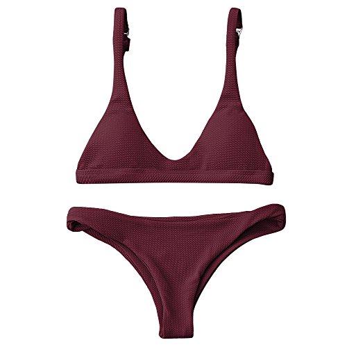 Zaful Donna Bikini a triangolo a tinta unita costumi da bagno imbottiti con spallacci regolabili (Burgundy, L)