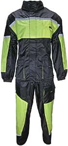 Motorrad Regenkombi Regenhose Regenjacke schwarz neon grün Gr. S