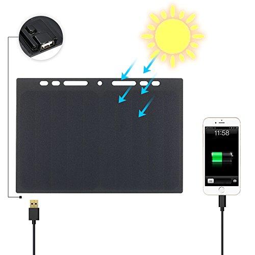 Este panel solar es una solución de bajo consumo para exteriores de carga. En comparación con banco de la energía que es pesado y cuya capacidad es limitado, este panel solar es tan portátil que se puede poner en el portátil como una página. Proporci...