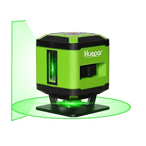 Huepar FL360G 1 x 360 Livella Laser per Piastrelle, Commutabile Linea Laser Verde Autolivellante con Linea Orizzontale a 360 Gradi, Raggio di lavoro di 15m (Solo per Interno), Base Magnetica Inclusa