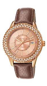 Esprit Marin Glints Women's Quartz Watch with Rose Gold Dial Analogue Display and Brown Leather Strap ES106212013