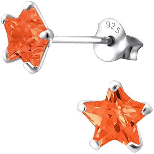EYS JEWELRY Sterne Ohrstecker für Damen und Kinder 925 Sterling Silber Zirkonia orange 6 mm Mädchen Ohrringe