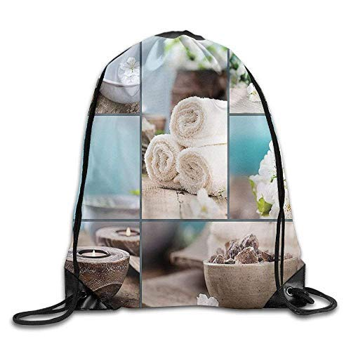 Etryrt Prämie Turnbeutel/Sportbeutel, Spa Far East Close to Your Heart Asian Massage Theme Collage Oils Candles Flowers Bags Mountain Backpack