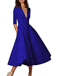 Kavitoz Clearance New Arrival Womens Long Ball Gown Prom Ladies Evening Party Swing Dress S-