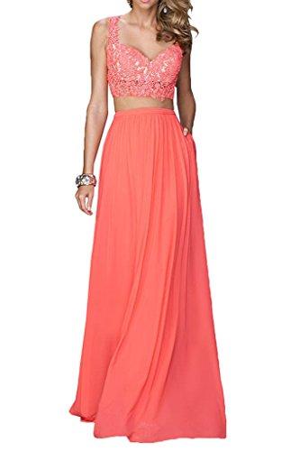 Promgirl House Modisch Spitze Chiffon Traeger A Linie Abendkleider Ballkleider Partykleider Lang Wassermelone