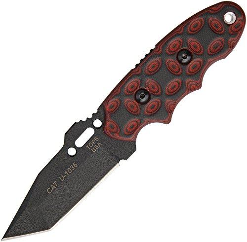 Tops tp203t02, Messer mit fester Klinge Unisex–Erwachsene, Rot, Einheitsgröße (G10-skalen)