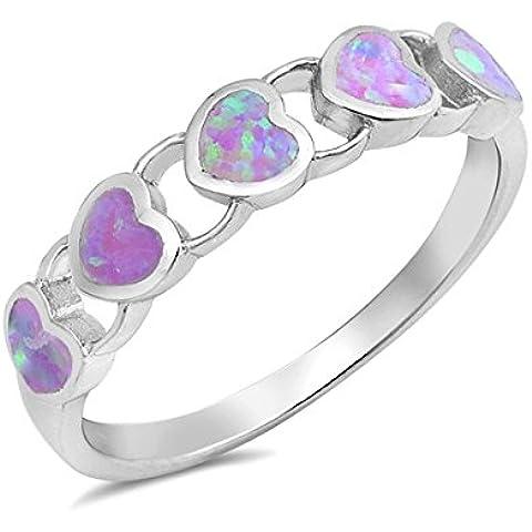 Sterling Cuori Argento Lab opale gemma Anello