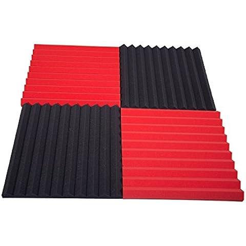 Pannelli Fonoassorbenti Monopiramide 50x50x4 pacco da 20 Misto (10 Neri + 10 Rossi)
