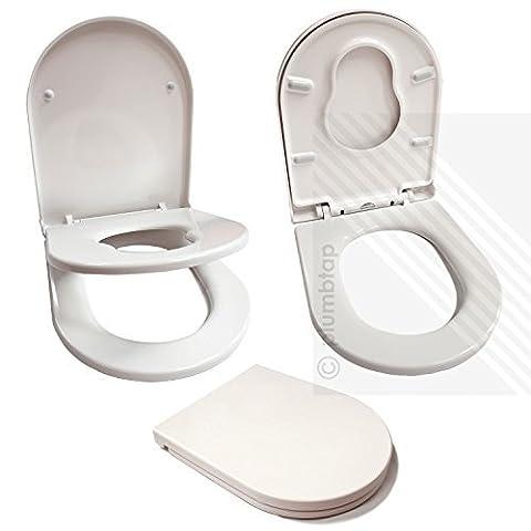Premium Soft Close White D-Shape Toilet Seat for Young Families